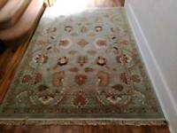 Pale green rug.