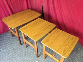 VINTAGE WOODEN NEST OF TABLES,CAN DELIVER