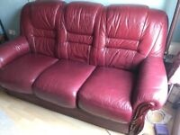 Three-seat leather sofa - Italian leather