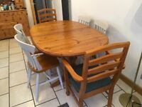 Sturdy pine extendable table and chairs, unfinished shabby chic project
