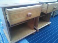 2 pine bedside tables £45