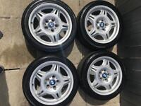 E36 M3 Motorsport Style Wheels NEW TYRES, m parallels m5 m6 alloys sunflowers type 2 328i sport 17""