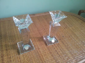 Pair of Xavier Crystal Candlestick Holders