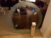 Glass round dining table and 4 chairs