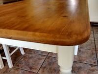 Waxed Pine Top Dining Table