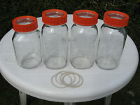 4x large Kilner preserving jars with seals, glass lids and orange screw tops, 1.5l each