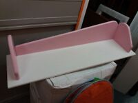 3 pink/white solid wooden MFI shelves