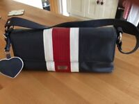 Osprey blue leather handbag with red and white trim