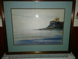 ORIGINAL WATER COLOUR OF, CLIFF TOP VILLA, WITH PANORAMIC VIEWS OF THE OCEAN BELOW