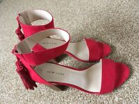 Red block heel sandals from New Look. Worn once. In great condition. Size 4.
