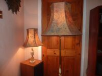 2 Vintage Style Floor Lamp + Matching Table Lamp + Shades