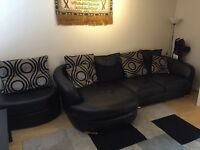 Sofa with couch in black hardly been used