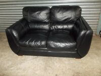 Black Leather 2-seater Sofa (Suite)