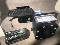 Dj equipment lazer lights and mic