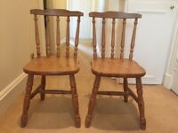 Solid pine chairs x 2