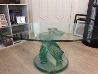 Swirl glass coffee table