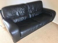 3 seater leather sofa with footstool