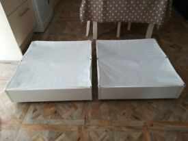 2 X white IKEA under bed storage boxes on castors