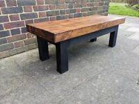 LOCAL DELIVERY New HANDCRAFTED 120cm COFFEE TABLE Rustic Industrial TV Media UNIT Reclaimed Wood