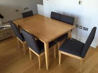 John Lewis dining table and 6 upholstered chairs