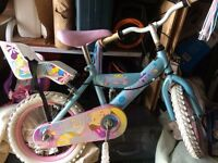 "Beautiful 14"" Girls Bike - Silverfox Sweetie with stabilisers and toy seat"