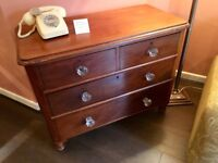 Victorian mahogany chest of drawers with crystal handles