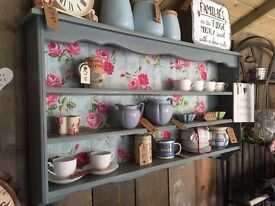 Upcycled Shabby Chic Painted Duck Egg Blue Wall Hanging Shelving Unit
