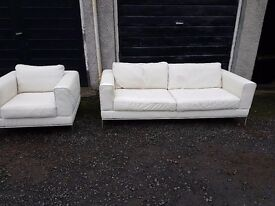 Cream leather sofa and chair