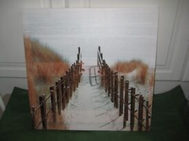 Bamboo Pathway to the Beach on Canvas - Multimedia Painting with Real Bamboo included in the Picture