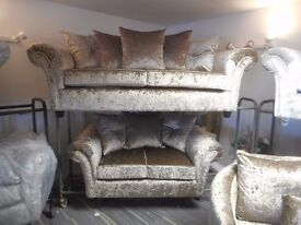 BRAND NEW CRUSHED VELVET SOFA 3 SEATER + 2 SEATER CHAMPAGNE CRUSHED VELVET SOFA