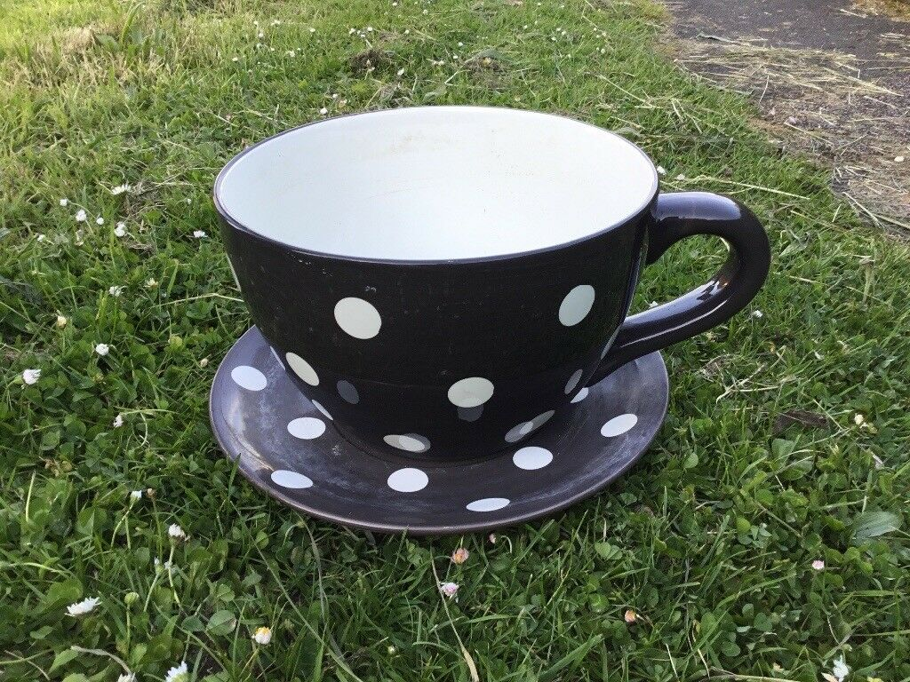 Giant Tea Cup And Saucer Flower Pot Planter In Sawston