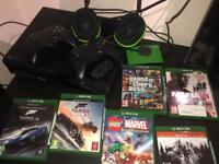 Xbox one 500gb with 2 controllers +two 3m charging cables +2TB drive +Turtle Beach Headset +6 games