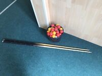 Snooker Balls/ Billiards Balls, Pool balls with Two pole rod, only £19 now! Must go before 21st!