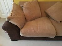 High quality 3 piece leather / fabric sofa and armchair