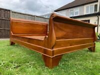 Lovely French Louis Handcrafted Solid Hardwood Sleigh 5ft King Size Bed Frame - Great Condition