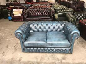 Fantastic Blue leather vintage chesterfield 2 seater sofa deliver