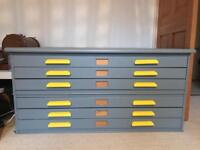 6 drawer architect chest refurbished grey and yellow A0 Abbess