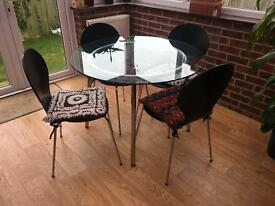 Ikea Round Glass Table with 4 Chairs