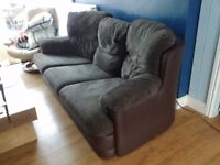 Brown 3 seater fabric sofa - great condition, very comfortable