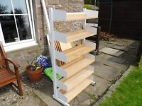 STURDY METAL SHELVING UNITS WITH 5 BEECH SHELVES SHOP*GARAGE*OFFICE*SHED*DISPLAY*MANCAVE forfar area