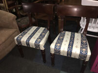 Stunning Pair of Antique Victorian Solid Mahogany Regency Reupholstered Dining Occasional Chairs