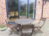 Wooden patio / garden table with 4 chairs