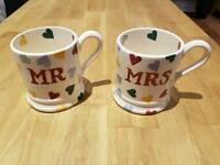 Emma Bridgewater polka heart Mr & Mrs mugs