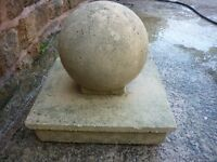Stone Ball Pillar Cap and Base