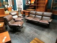 Leather 3 Piece Suite. Retro Vintage Mid Century