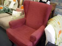 HIGH SEATING QUEEN ANNE STYLE ARMCHAIR