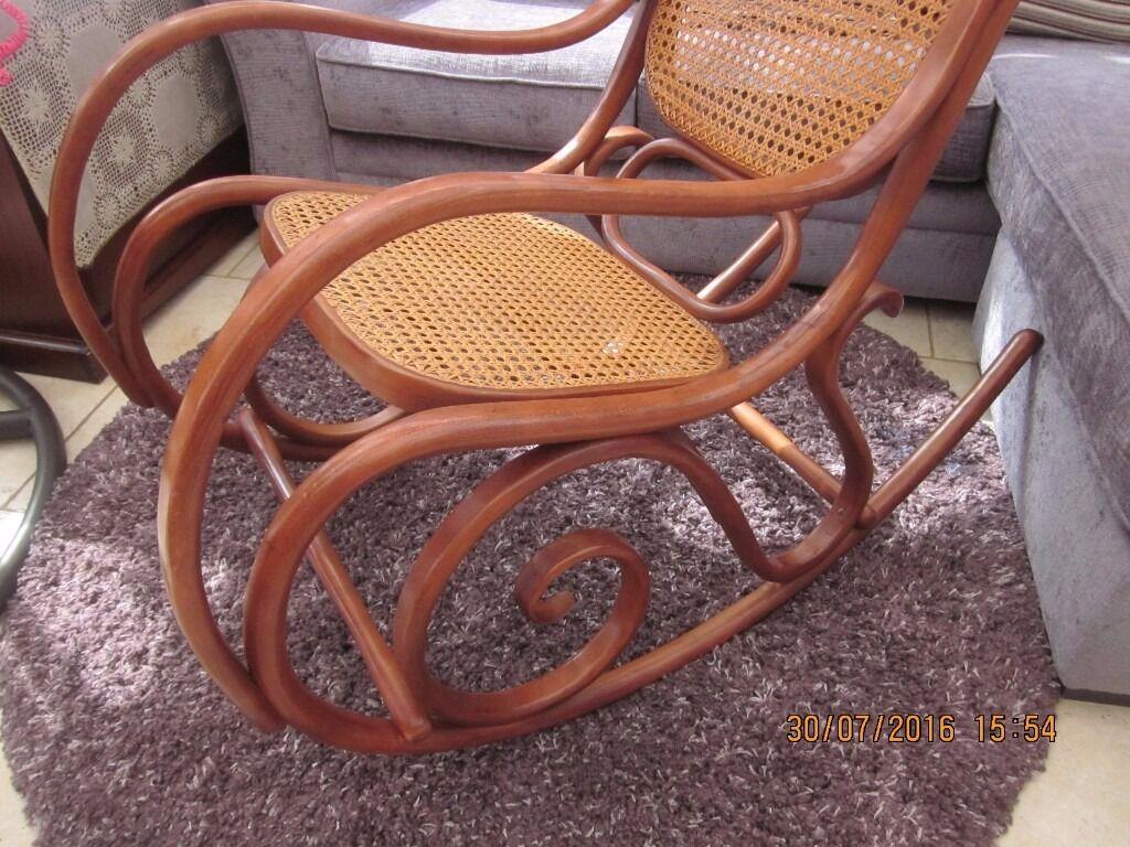 Vintage rattan rocking chair - Vintage Rattan Rocking Chair Thonet Style