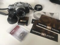 OLYMPUS OM1 Film Camera with 50mm 1.8 OM Lens Manuals plus extras