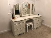 Large Dressing Table, Triple Mirror & Stool