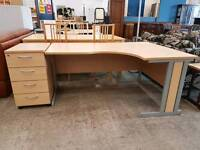 Large right curved office desk with matching filing unit